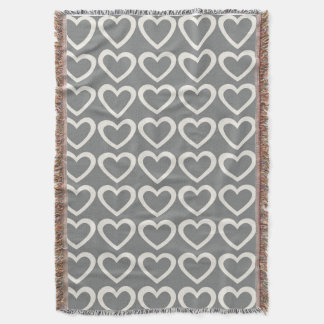 Pretty Pastels Grey Hearts Pattern Throw Blanket
