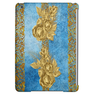 Pretty Pattern Gold Rose Blue Gradient