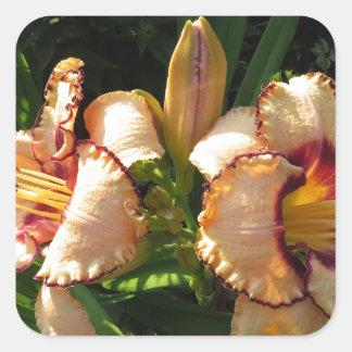 Pretty Peach Lilies Square Sticker