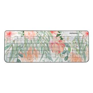 Pretty Peach Watercolor Floral Wireless Keyboard
