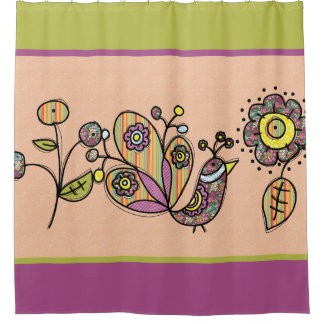 Pretty Peacock Bird With Flowers Shower Curtain