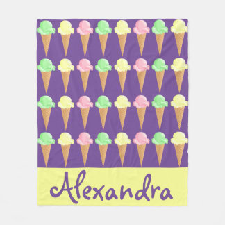 Pretty Personalized Girls Ice Cream Cone Fleece Blanket