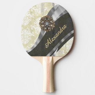 Pretty personalized girly cream damask pattern ping pong paddle