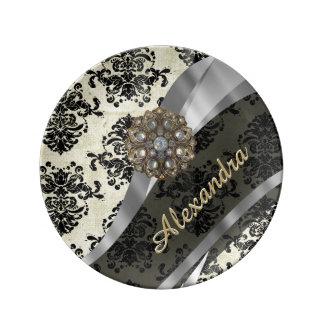 Pretty personalized girly cream damask pattern plate