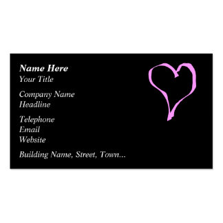 Pretty Pink and Black Love Heart. Pack Of Standard Business Cards
