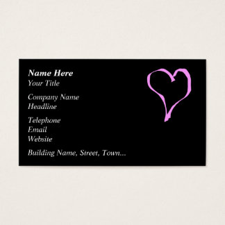 Pretty Pink and Black Love Heart. Business Card