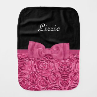 Pretty Pink and Black Rose Floral Bow Baby Name Burp Cloth
