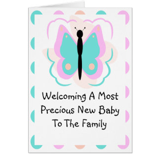 Pretty Pink And Cyan Butterfly Announcement Card