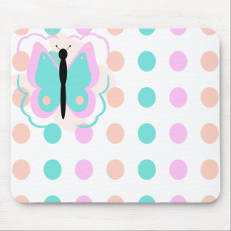 Pretty Pink And Cyan Butterfly Mousepad