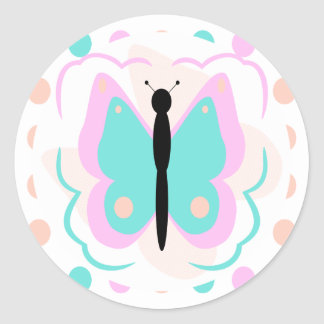 Pretty Pink And Cyan Butterfly Sticker