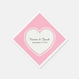 Pretty Pink and White Custom Wedding Napkin Paper Napkins