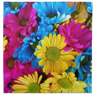 Pretty PInk, Blue, Yellow Flowers Pattern Napkin