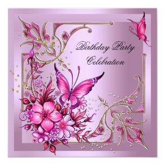 Pretty Pink Butterfly Birthday Party Card
