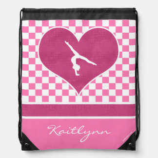 Pretty Pink Checkered Gymnastics with Monogram Drawstring Bag