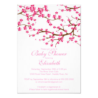 Pretty Pink Cherry Blossom Floral Baby Shower Card