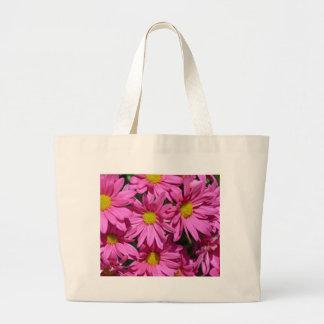 Pretty pink chrysanthemum flowers print large tote bag