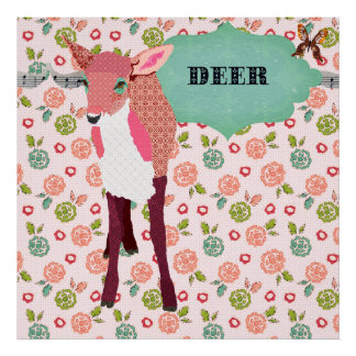 Pretty Pink Deer Retro Floral Poster