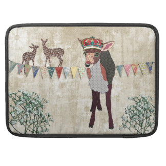 Pretty Pink Fawn White Vintage Macbook Sleeve Sleeves For MacBooks