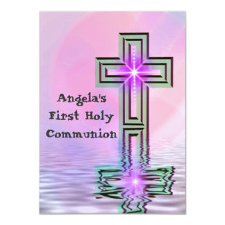 Pretty Pink First Holy Communion Invitations