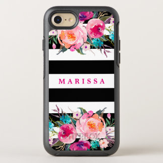 Pretty Pink Floral Modern Black Stripes OtterBox Symmetry iPhone 8/7 Case