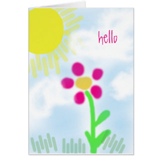 Pretty Pink flower on a Sunny Day Naive Art Card