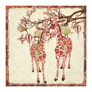 Pretty Pink Giraffes Cherry Blossom Canvas Stretched Canvas Print
