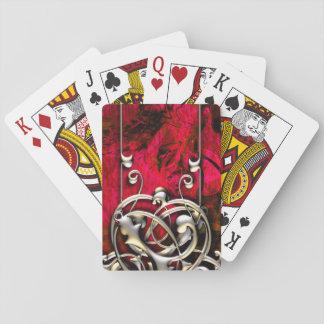 Pretty Pink Grunge Fantasy Tribal Flourish Playing Cards