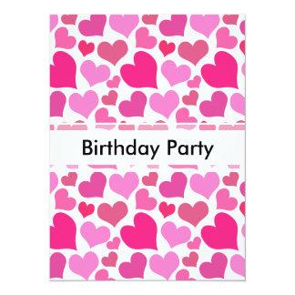 Pretty Pink Hearts for Bachelorette or Bride 14 Cm X 19 Cm Invitation Card