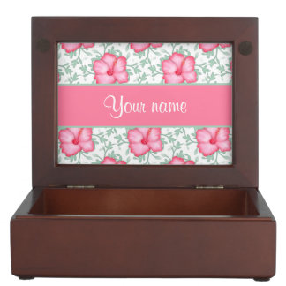 Pretty Pink Hibiscus Flowers Keepsake Box