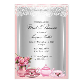 Pretty Pink High Tea Bridal Shower Invitation