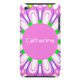 Pretty Pink Retro Flower Monogram iPod Touch Case