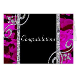 Pretty Pink Roses & Diamond Swirls Wedding Greeting Card