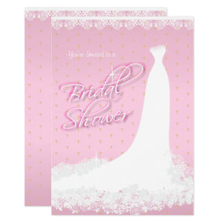 Pretty Pink Satin Religious Bridal Shower Card