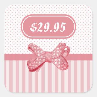 Pretty Pink Stripes Cute Polka Dot Bow Price Tag