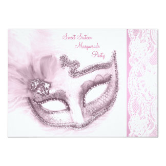 Pretty Pink Sweet Sixteen Masquerade Party 11 Cm X 16 Cm Invitation Card