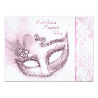 Pretty Pink Sweet Sixteen Masquerade Party 14 Cm X 19 Cm Invitation Card