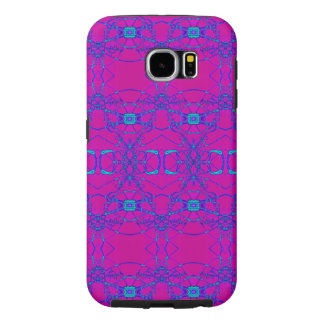 Pretty pink turquoise lace pattern samsung galaxy s6 cases