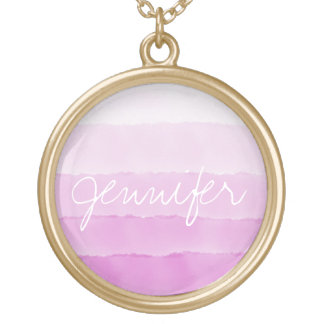 Pretty pink Watercolor ombre custom name monogram Gold Plated Necklace