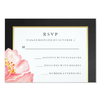Pretty Pink Watercolor Peony and Chalkboard RSVP Card