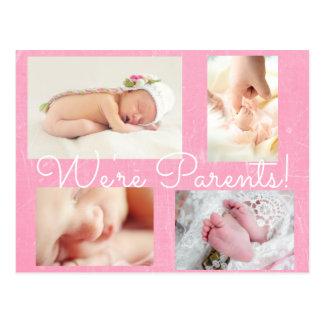 "Pretty Pink ""We're Parents""  Birth Announcement Postcard"