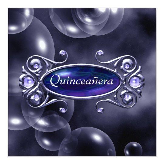Pretty Purple Bubbles Quinceanera 13 Cm X 13 Cm Square Invitation Card