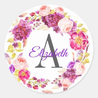 Pretty Purple Hydgrangea and Floral Monogrammed Classic Round Sticker