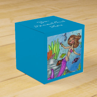 Pretty Purple Mermaid Swimming Fish Seaweed Rocks Favour Boxes