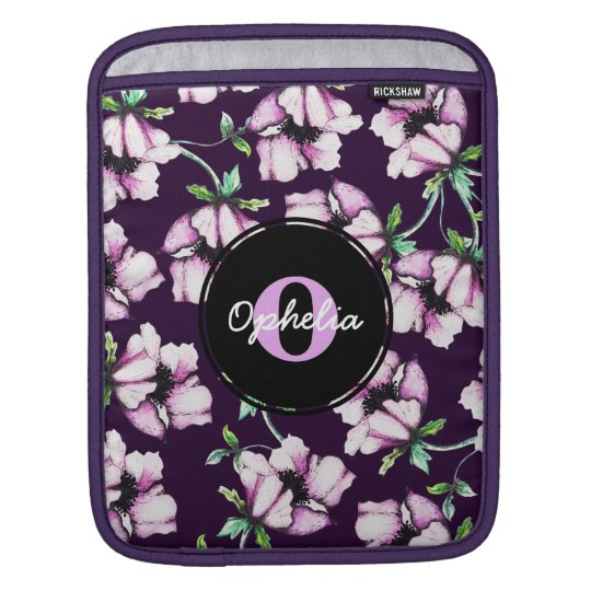 Pretty Purple & Pink Watercolor Flowers & Name iPad Sleeve
