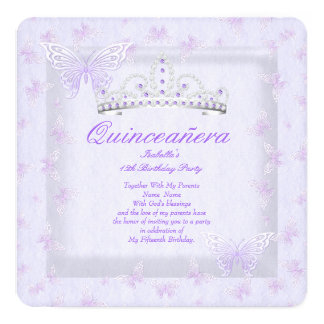 Pretty Purple Quinceanera Party Tiara Butterflies Card