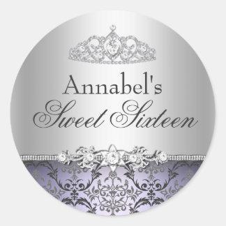 Pretty Purple & Silver Damask Sweet 16 Sticker