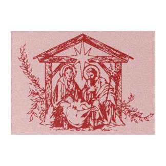 Pretty Red Nativity Acrylic Wall Art