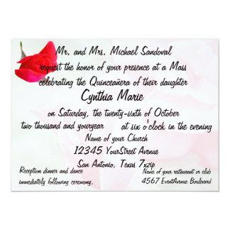 Pretty Red Rose Quinceanera Birthday 14 Cm X 19 Cm Invitation Card