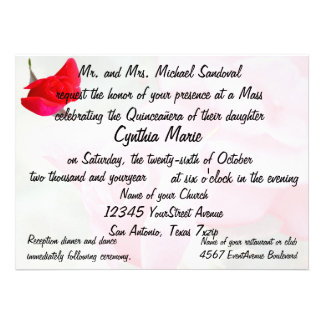 Pretty Red Rose Quinceanera Birthday Invitations