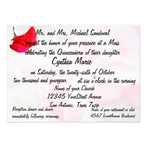 Pretty Red Rose Quinceanera Birthday Invitations